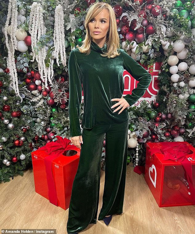 Fashionista: The radio host also shared a stunning snap on social media in front of a Heart FM studio wall which was adorned with extravagant Christmas decorations