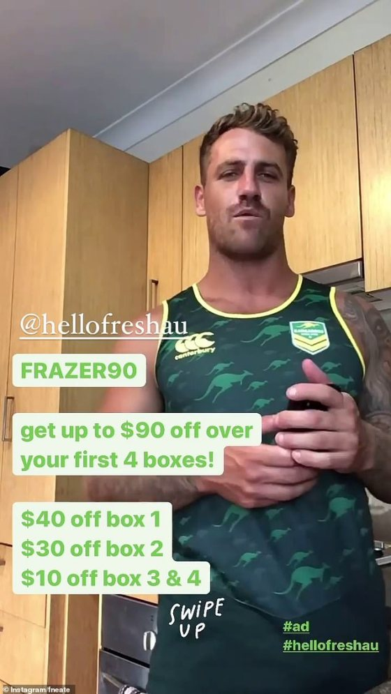 Shocked content: It comes after Bachelorette winner Frazer Neate promoted HelloFresh in a post with somewhat stilted and awkward support on Instagram on Tuesday