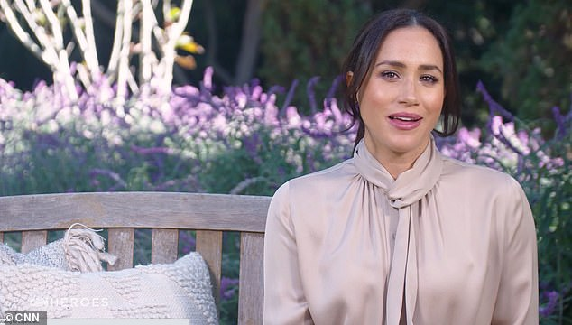 Meghan's appearance on CNN on Monday, pictured, when the Duchess praised the 'silent heroes' of the coronavirus pandemic who have supported communities