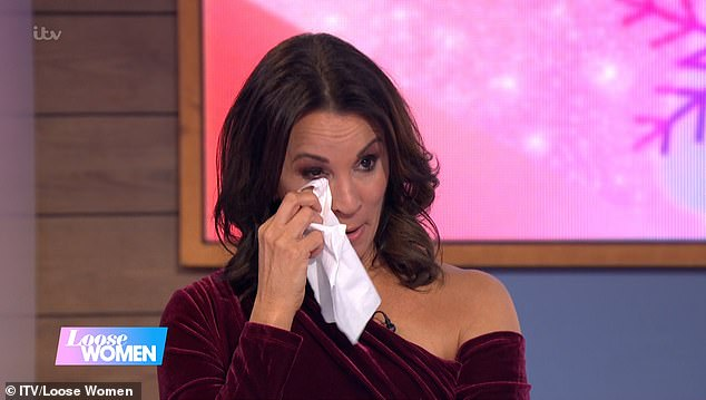 Tears:The presenter was left struggling to hold it together as her co-stars Coleen Nolan, Janet Street-Porter and Judi Love hosted a special edition of the ITV show saying goodbye to her