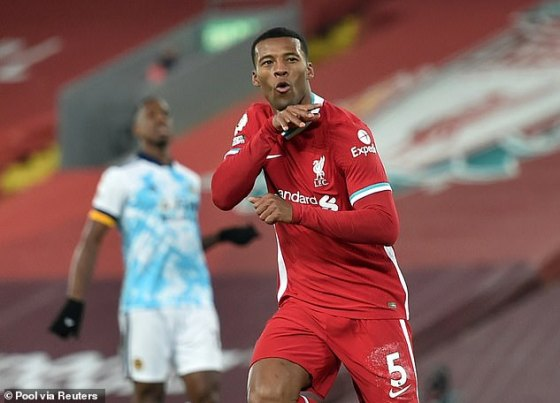 Wijnaldum won a stunning display and made a spectacular display when Liverpool beat the Wolves on 6 December