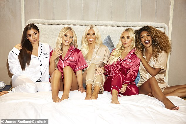 Glossy locks:Amber Turner, Lucie Donlan and Molly Smith starred in a New Year's-themed shoot with GENi HAIR (pictured withCameron Valentina, L, and businesswoman Lady Roc, R)