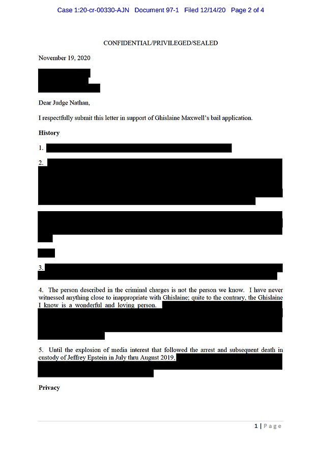Now, Borgerson has pleaded with a judge to release Maxwell, offering $ 28.5 million bail.  Pictured: A redacted version of Borgerson's letter is pictured above