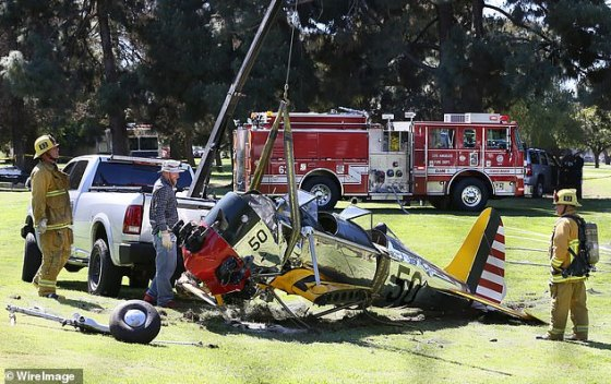 Scary!  Harrison has a long history of incidents, accidents and snafus throughout his decades as a pilot, including this one in 2015 when he crashed on a golf course after an engine failure