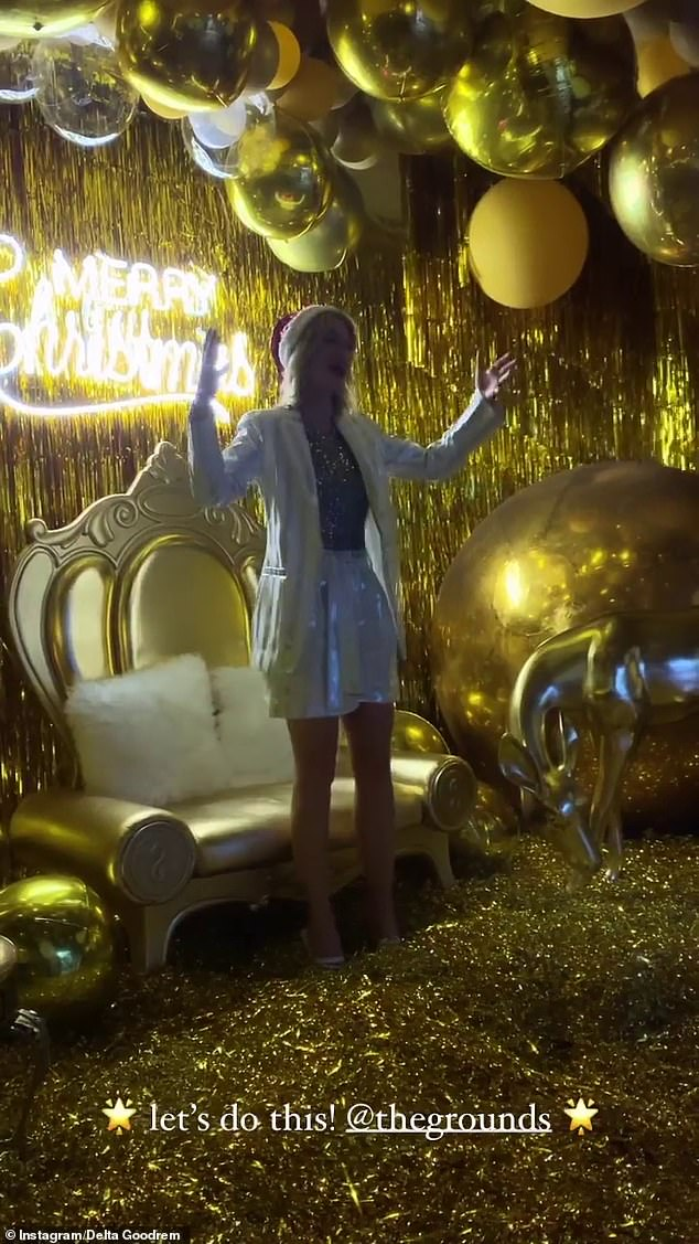 What a palace: When Delta was not standing, she reigned as queen on top of a gold throne with white furry cushions, while wearing a Santa hat