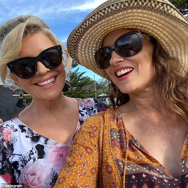 Birthday babe: Georgie celebrated her 56th birthday on set and posted a series of photos of herself having fun with her colleagues. Pictured withEmily Symons