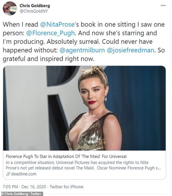 Tweet: 'When I read @NitaProse's book in one sitting I saw one person: @Florence_Pugh.  And now she's a star and I do, 'he began