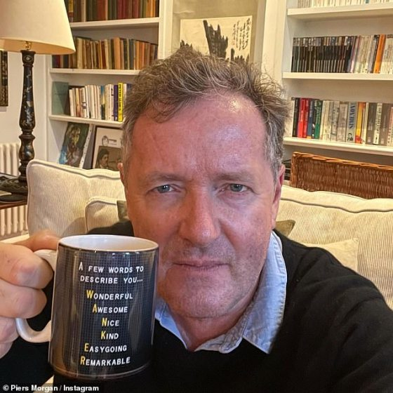 Oh dear!  Piers Morgan seemed unimpressed, as his Good Morning Britain colleagues gave him a rather insulting mug on Thursday