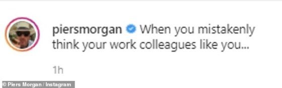 Uh oh: Piers made a gruff expression on his face as he showed his ability, after explaining his disappointment when he realized he might not rank as high as he thought in the eyes of his colleagues