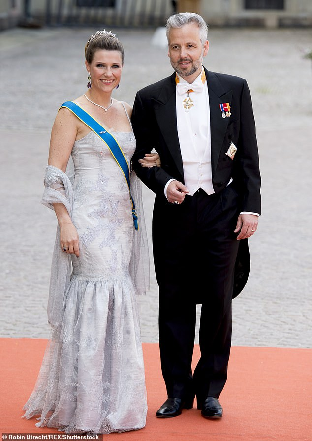 Leah's tribute comes after Princess Martha Louise paid tribute to her ex-husband Ari Behn a year after his death (Pictured, Martha Louise and Ari Behn at the wedding of Prince Carl Philip of Sweden in 2015)