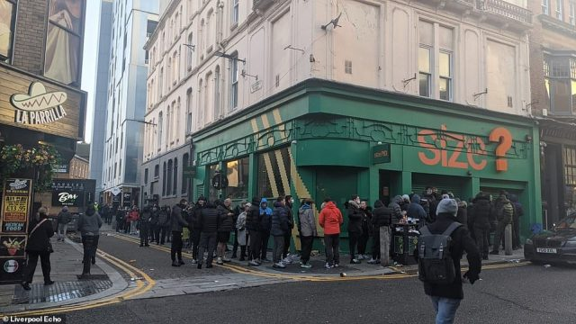 Crowds of shoppers were dispersed yesterday after hundreds of people queued up outside Size? on Bold Street, Liverpool