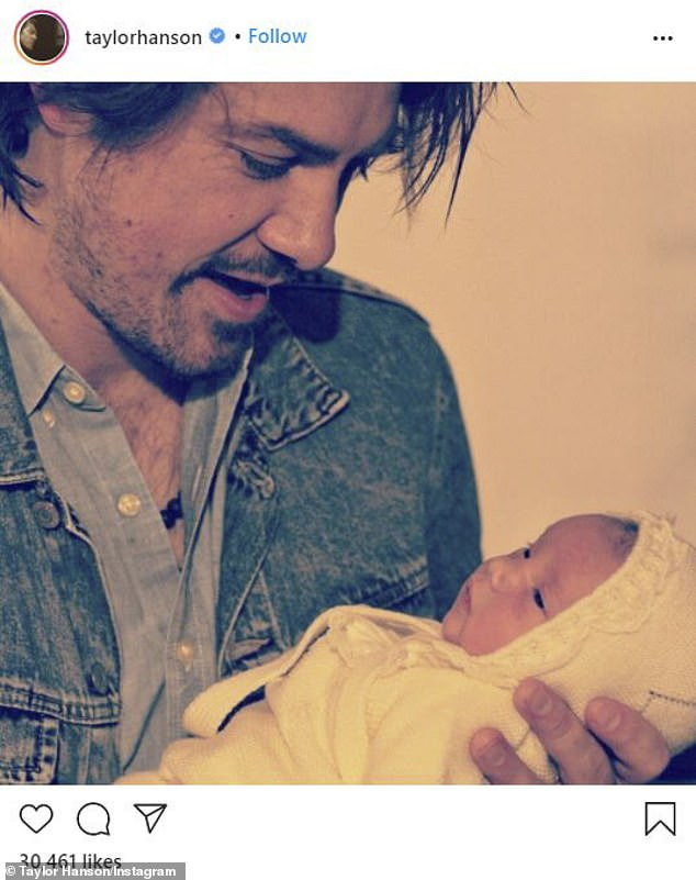 Happy days: Taylor Hanson announced that he and his wife Natalie welcomed a girl named Maybellene earlier this month