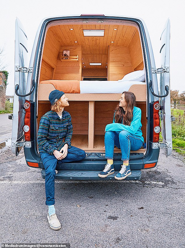 Grace Robertson, 28, (right) and Charlie Hughes, 28, (left) from Hastings, East Sussex, have set up their own van renovation business after learning their craft during a £13,000 project to create their own mobile home