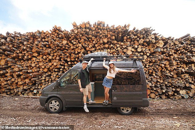 The couple spent £1,000 on electronics, £350 on windows and vents, £100 on flooring, £600 on wood, £500 on hardware and fixtures, £1,000 on appliances, £500 on a roof rack, £150 on paint, £400 on furnishings and £250 on a worktop