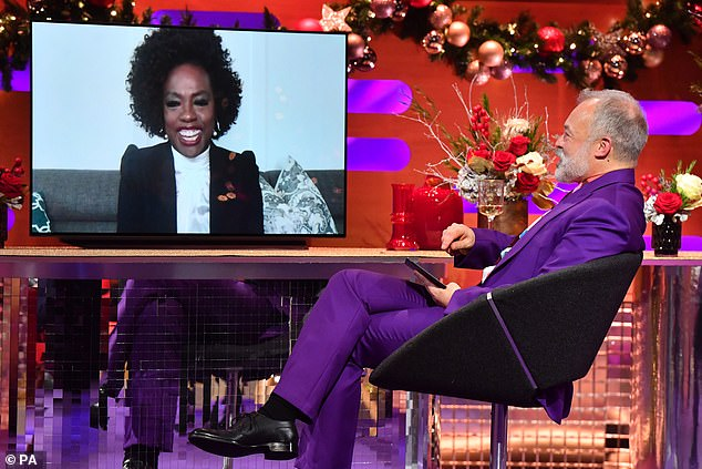 Live from Los Angeles: Also getting beamed into the studio from her Los Angeles home, Oscar-winning actress Viola Davis, 55, spoke about her new film Ma Rainey's Black Bottom
