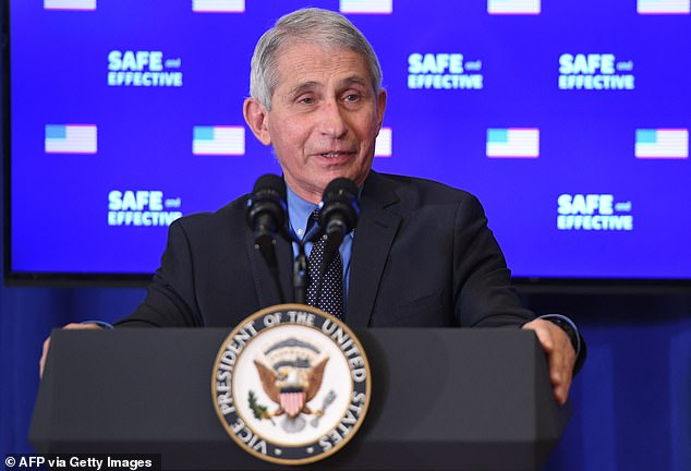 Director of the National Institute of Allergy and Infectious Diseases Anthony Fauci speaks after US Vice President Mike Pence received the COVID-19 vaccine in the Eisenhower Executive Office Building in Washington, DC, December 18, 2020