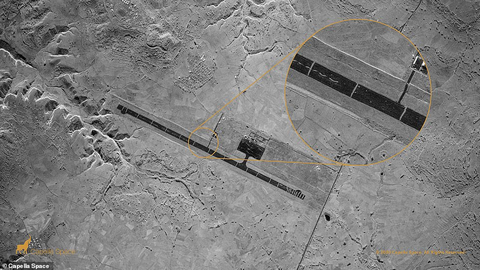 The firm says it is working on creating a satellite constellation of 36 devices that, combined, can monitor 'anywhere in the world every ever hour.' The Aksum Airport was heavily damaged during the Ethiopian Tigray conflict. Capella's very high-resolution Spot image identifies 23 trenches dug perpendicularly across the runway to prevent its usage