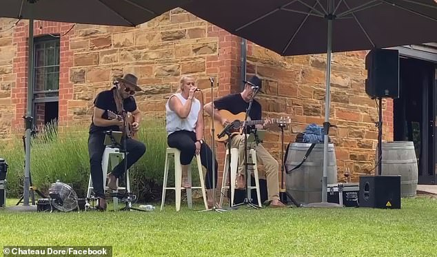 Outdoor gigs:The duo have also performed together at events, including Bendigo's winery and reception venue, Chateau Dore, in November (pictured)