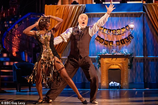 Waltz: Bill competes for the Glitterball trophy with his dance partner Oti Mabuse
