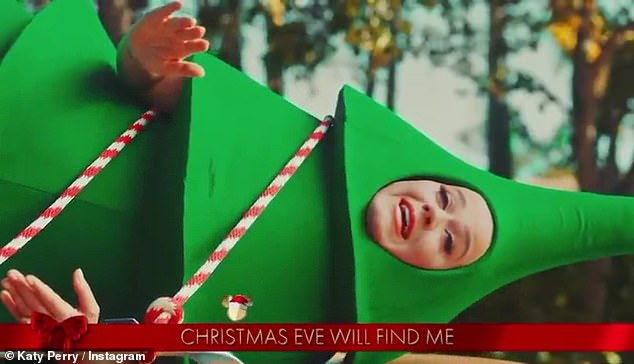 Festive feels: Set to her rendition of I'll Be Home For Christmas mixed with her song Cozy Little Christmas, the video follows Katy's journey as a freshly plucked tree as she croons on top of a car