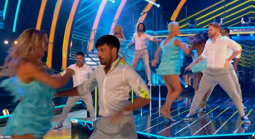 Sensational:The Strictly professionals kicked off the show with a luminous opening routine, which was partially filmed earlier this year when the stars formed a bubble to pre-record all of their group performances