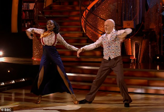 What a showman! Comedian Bill and Oti Mabuse delivered another performance of their energetic Quickstep to Talk To The Animals by Bobby Darin