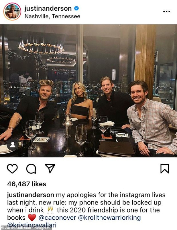 Wild Night: The Laguna Beach star, Anderson, and the Southern Charm boys enjoyed a raucous night last week, where they were seen dancing heavily on Instagram Live after Taylor Swift grabbed dinner;  14 December