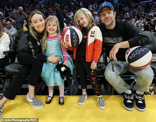 Happy family: Wilde shares son Otis, six, and daughter Daisy, four, with Sudeikis, 45, with whom she amicably split earlier this year, calling off their engagement (pictured in February, 2020)