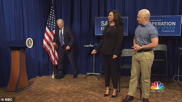 After Harris appeared, she invited Biden to join her on stage. The president-elect then limps toward the stage with the aid of a cane and a cast on his leg. In real life, Biden suffered a hairline fracture in his foot while playing with his dog