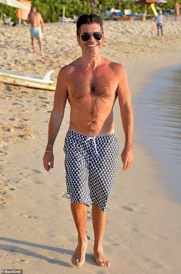 Fitness: Simon Cowell's friend Sinitta has revealed that the music and TV mogul is bouncing back impressively, after breaking his back in a bike accident in August. Pictured in January