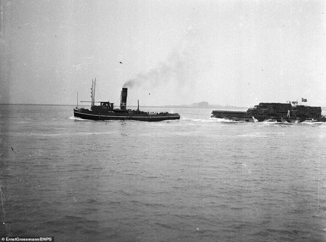 Plans involved tug boats (pictured) towing the craft across the channel, the landing craft would then use their own engines to make the final beach assault