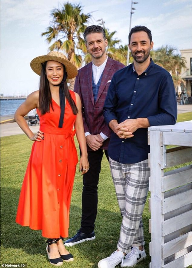 Struggles: In February, Joe wrote an unusual tribute to his wife on their third wedding anniversary, hinting that her MasterChef filming schedule had taken a toll on their relationship. Pictured: Melissa with her MasterChef co-hosts Andy Allen (right) and Jock Zonfrillo (centre)