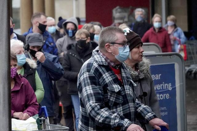 The Tesco store in Cirencester was busy this morning as people formed long lines to do their Christmas food shop