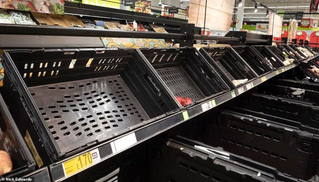 The shelves were emotied of fresh stock as large numbers of shoppers descended on supermarkets this morning amid news of a French travel ban. The Port of Dover has confirmed lorries carrying essential items are now inbound from France