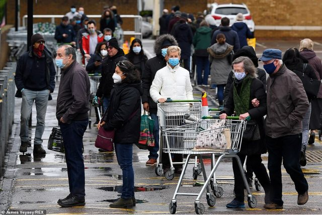 The scenes in Harrow were similar to those witnessed at supermarkets across the UK, with long queues continuing throughout the day as people flocked to get their groceries