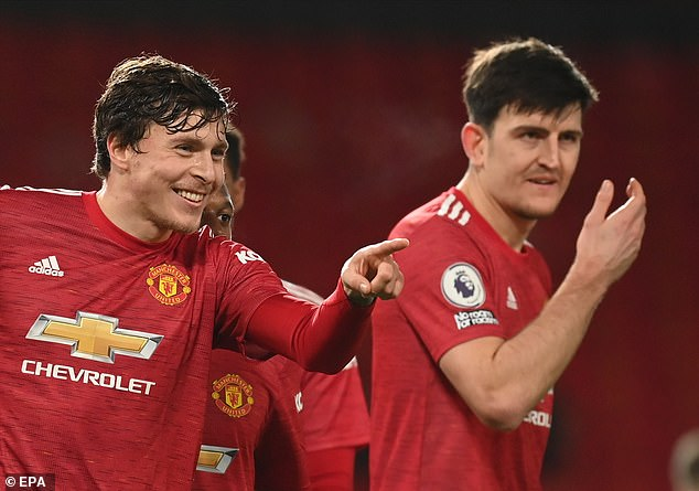 Maguire's regular partner at centre back Victor Lindelof (left) is also in the top 10, in seventh