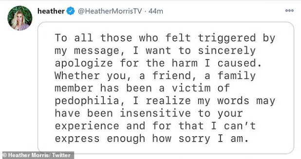 Public Apology: The 33-year-old wrote in a statement: 'To all those who triggered my message, I sincerely apologize for the harm I have done'