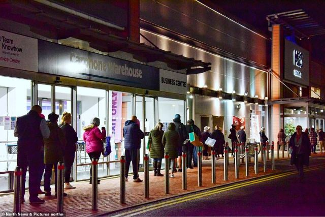 A huge long queue stretches around the Silverlink Retail Park in North Tyneside this morning as Christmas shoppers wait in line at 7am for the M&S food hall to open