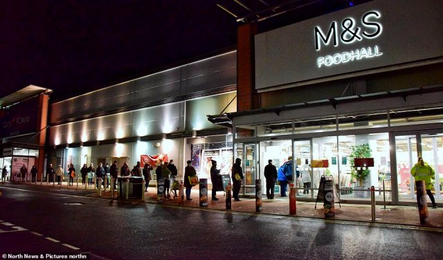 Long lines of shoppers formed outside this M&S Foodhall in North Tyneside this morning from 7am