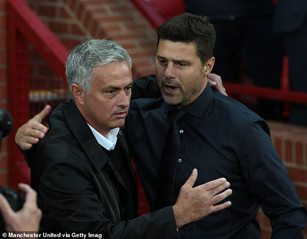 Pochettino (right) was sacked after Spurs sat 14th and was replaced by Mourinho (left)