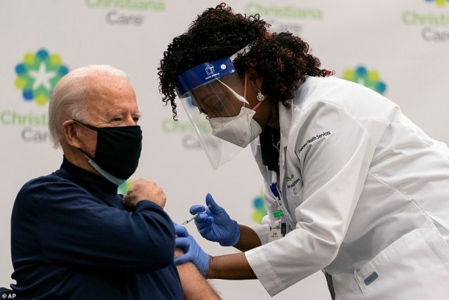 President-elect Joe Biden, 78, received the vaccine on Monday at Christina Hospital in Newark, Delaware
