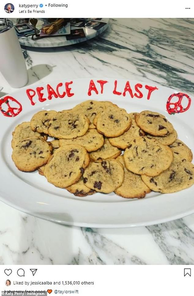 Peace at last: Perry shared a photo of a plate of cookies that said 'Peace at last' in 2019 nearly a year after she tried to end the feud by sending an olive branch ahead of Taylor's Reputation tour; pictured June 2019