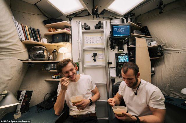 Karl-Johan Sørensen (left) and Sebastian Aristotelis (right) enjoying one of their very basic powdered meals inside the habitat