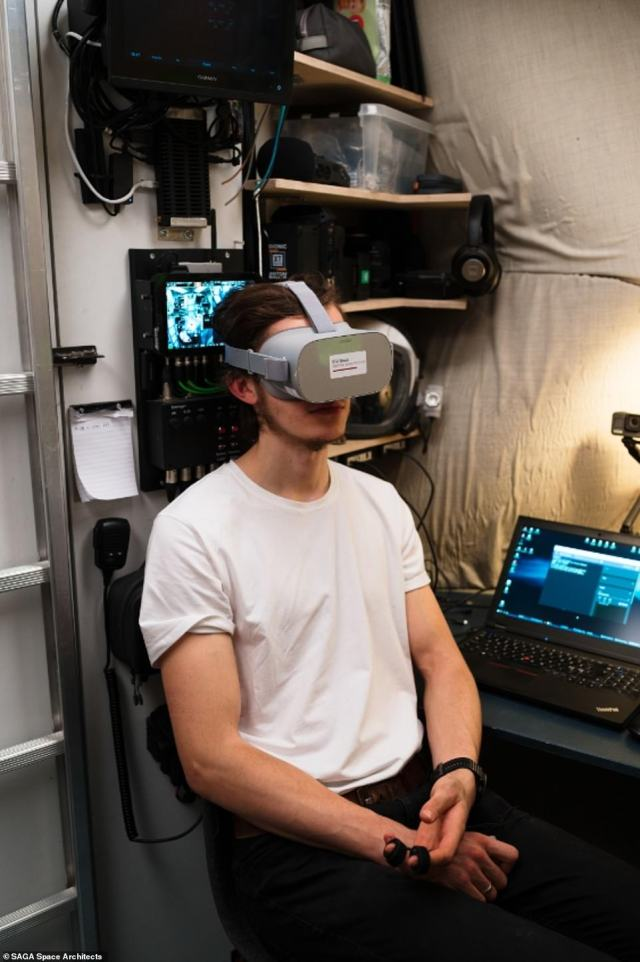 The team participated in a virtual reality (VR) study by the Danish Technical University Department of Space. Pictured, Karl-Johan Sørensen under the VR mask