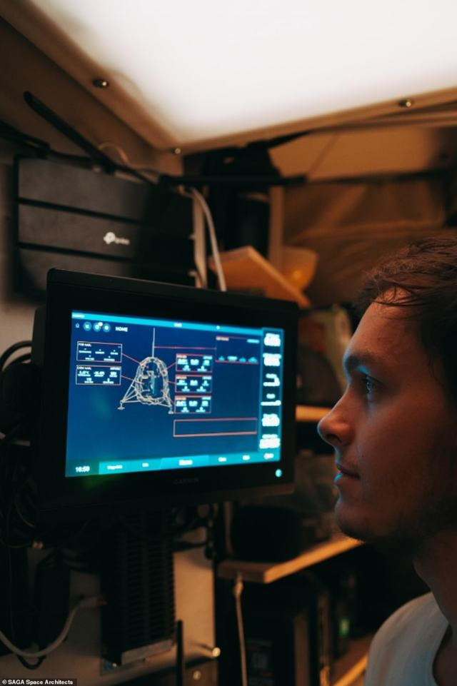 Karl-Johan Sørensen sits in front of Lunark's control panel.Although the team had an advanced software system to monitor the habitat, they were offline the whole time and had no smartphones
