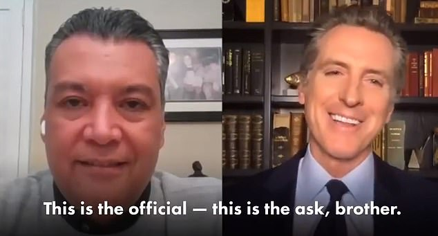 California Gov. Gavin Newsom (right) tweeted out the video of the call he made to Alex Padilla (left) asking him if he would serve in the U.S. Senate