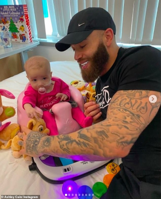 Good cause: Ashley said he was grateful to those who signed up to charities DKMS and Anthony Nolan to help his four-month-old, and others like her, as they fight cancer
