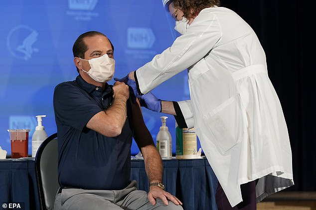 Health and Human Services Secretary Alex Azar receives his first dose of the COVID-19 vaccine. He has allegedly complained that Pfizer is uncooperative in negotiating a deal