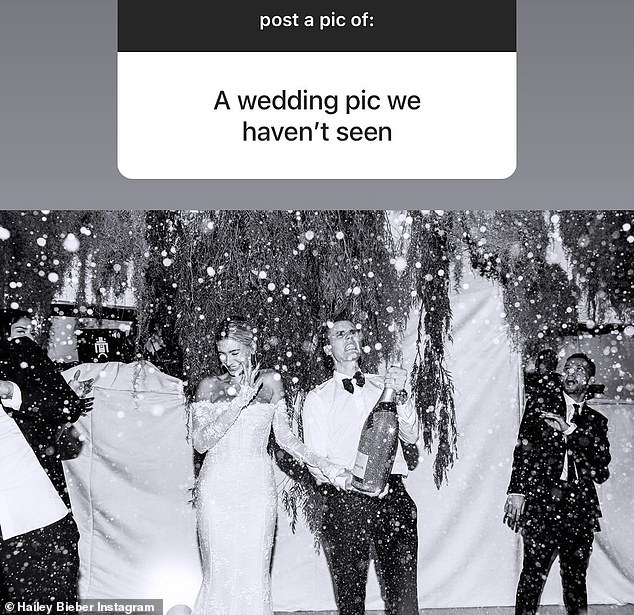 Instagram challenge:Hailey Bieber fired up her Insta Stories on Tuesday and posted a never-before-seen snap of her wedding to Justin Bieber last