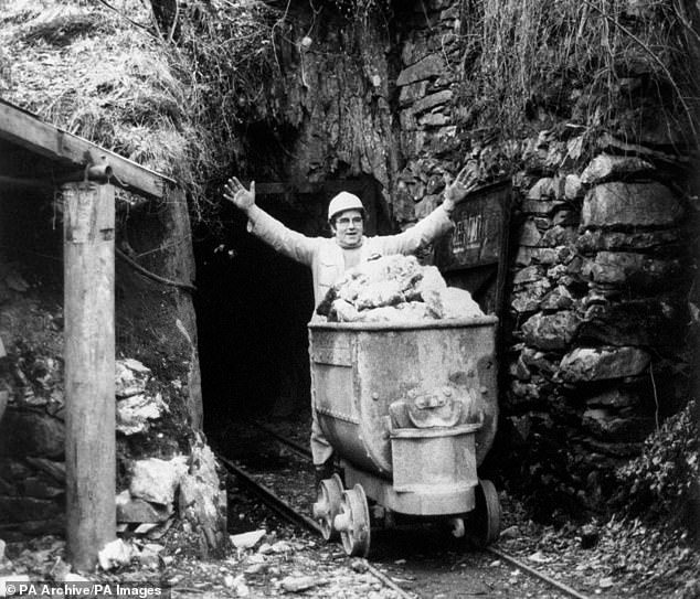 After producing copper and a little lead for quite a number of years, the mine developed into gold production in the 1862 'rush' and continued as a major operator until 1911. Pictured: Jerry Williams, a Welsh gold miner at Clogau St David's Mine, near Dolgellau